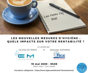 Les Petits Dej BGE - Invitation 19 mai - Les nouvelles mesures d'hygiène quels impacts sur votre rentabilité